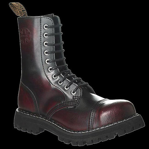 STEEL - 10 Eyelet Burgundy Steel-Toe Boot