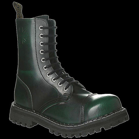 STEEL - 10 Eyelet Green Rub Off Steel-Toe Boot