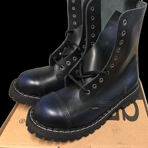 STEEL - 10 Eyelet Navy Rub Off Steel-Toe Boot