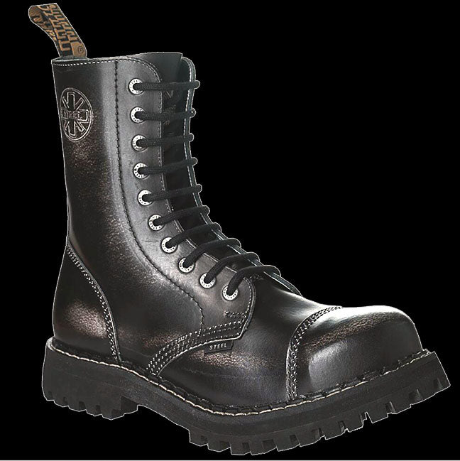 STEEL - 10 Eyelet Black & White Steel-Toe Boot