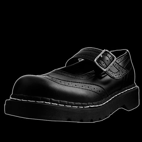 TUK - Black Vegan Brogue Mary Jane Shoe