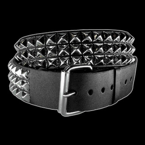 "Funk Plus - 3 Row 1/2"" Silver Pyramid Stud Belt"
