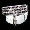"Funk Plus - 3 Row 1/2"" Silver Pyramid Stud White Belt"