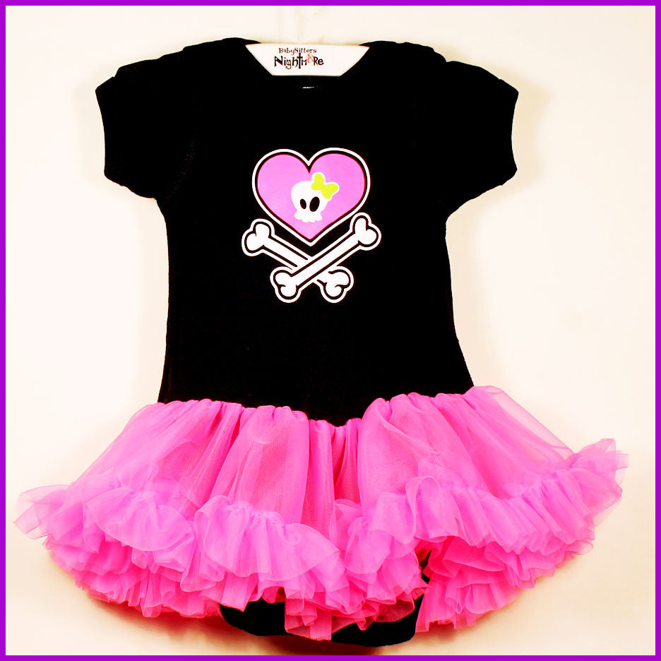 Babysitter's Nightmare - Heart Crossbones Pink Tutu Dress