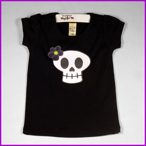 Babysitter's Nightmare- Skull and Flower Tee