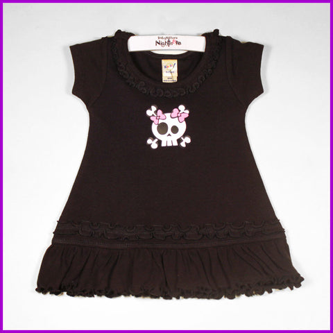 Babysitter's Nightmare - Black Girly Skull Ruffle Dress