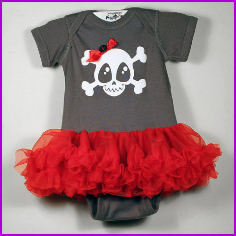 Babysitter's Nightmare - Grey Skully & Bow Tutu Dress