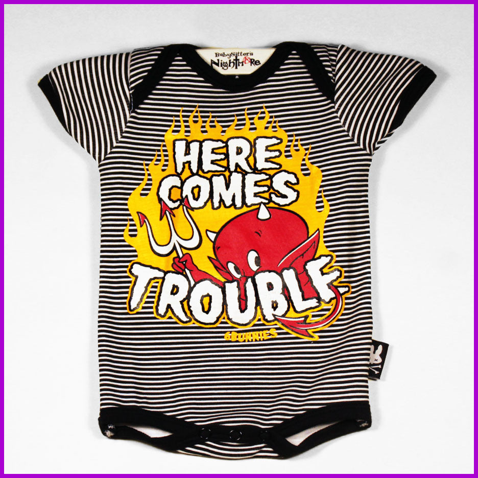 Six Bunnies - Here Comes Trouble Striped Onesie