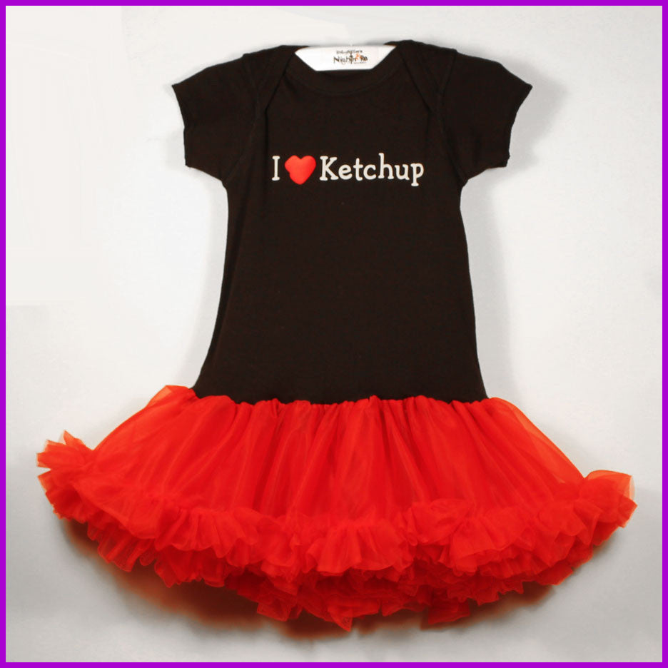 Babysitter's Nightmare - Black I Love Ketchup Tutu Dress