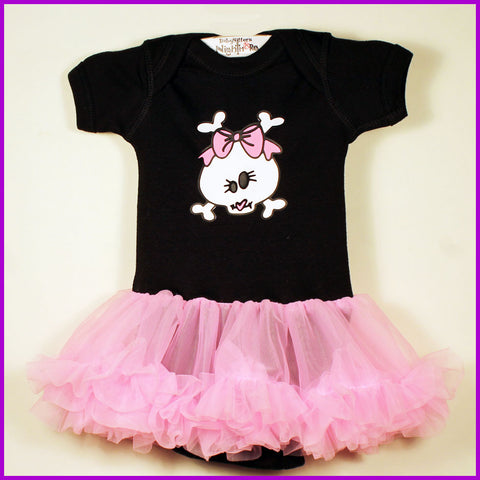Babysitter's Nightmare - Pucker Up Skully Pink Tutu Onesie Dress