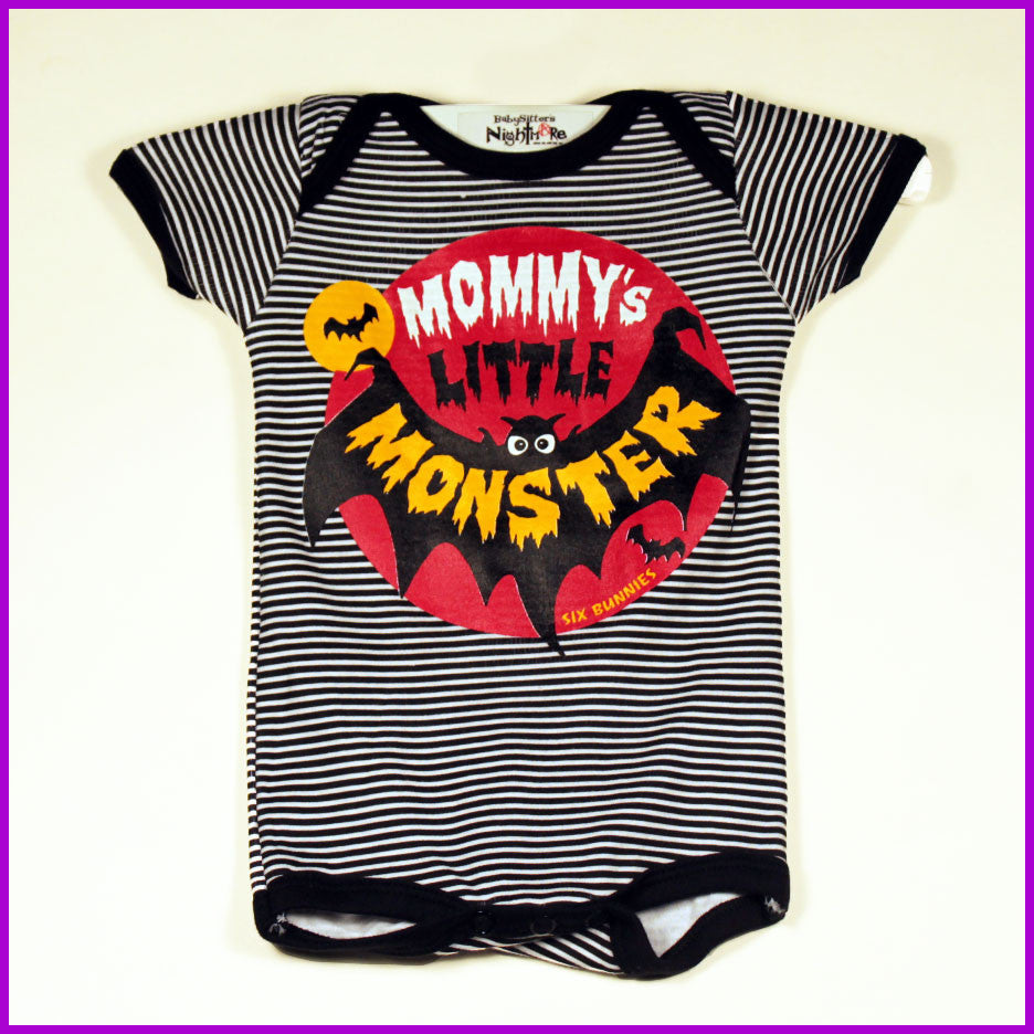 Six Bunnies - Mommy's Little Monster Striped Onesie