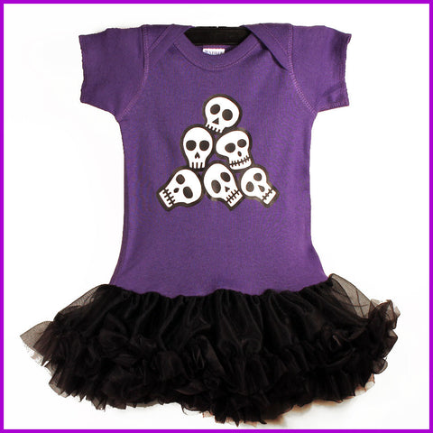 Babysitter's Nightmare - Purple Pile O' Skulls Tutu Dress