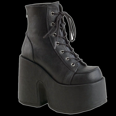 Demonia - Black Faux Leather Platform Heel Boot Camel 203