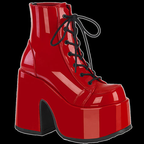 Demonia - Red Patent Faux Leather Platform Heel Boot Camel 203