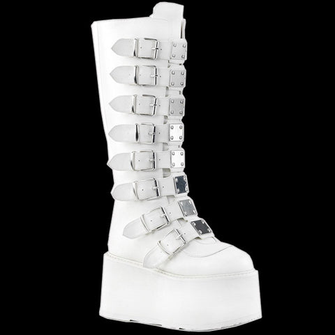 Demonia - DAMNED-318 White Vegan Leather