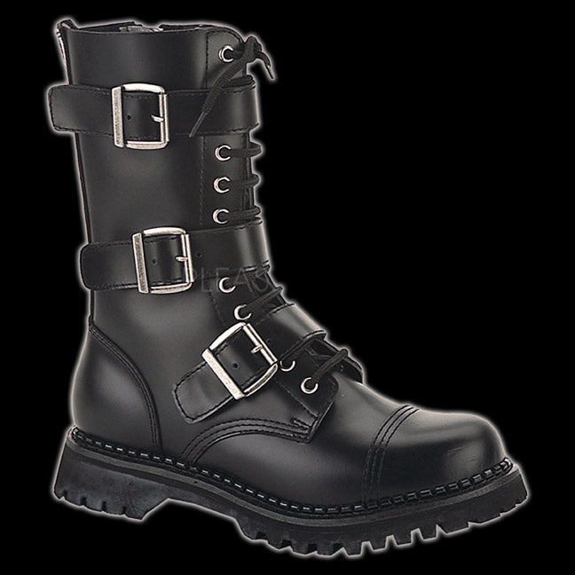 Demonia - Riot 12 Eyelet Black 3 Buckle Steel-Toe Boot