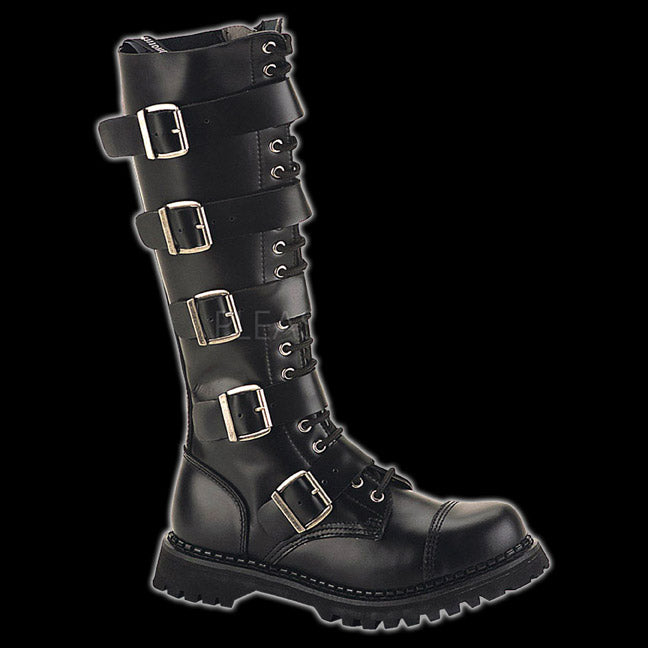 8756d2e4c09821 Demonia/Pleaser Riot 20 Eyelet Black 5 Buckle Steel-Toe BootRIOT20/B/LE    Vixens and Angels