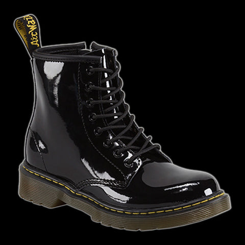 Dr Martens - Junior 8 Eyelet Black Patent Leather Delaney Boot