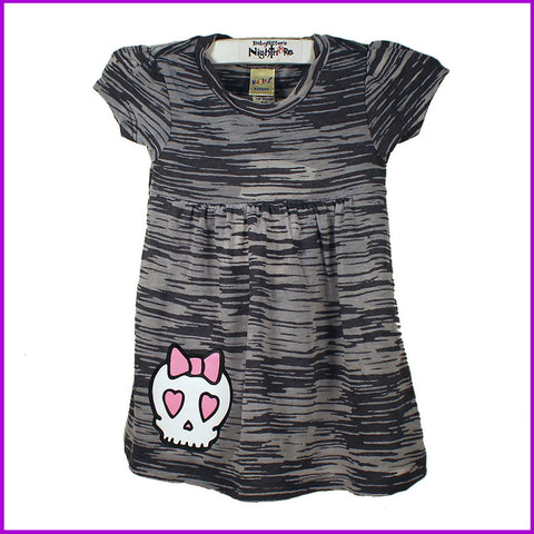 Babysitter's Nightmare - Grey Burnout Bow Skull Dress