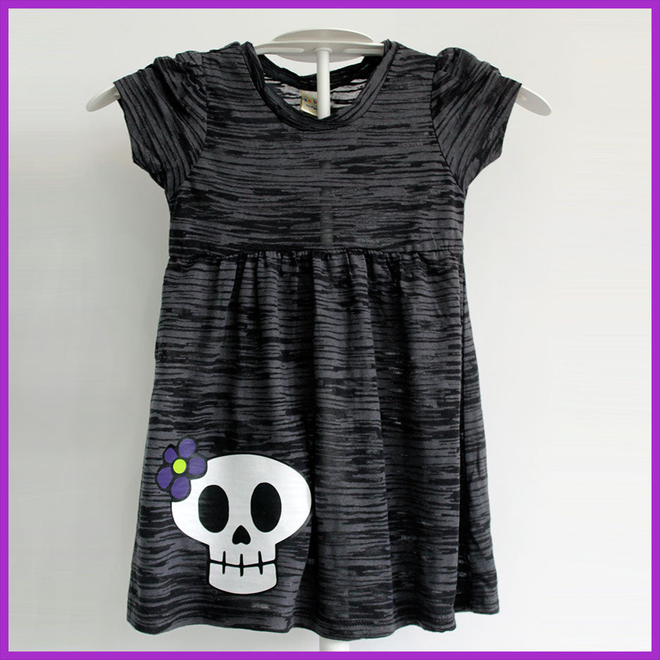 Babysitter's Nightmare - Charcoal Burnout Skull and Daisy Dress
