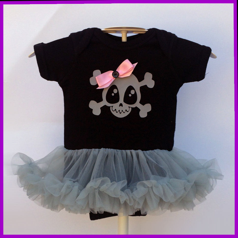 Babysitter's Nightmare - Black and Pink Skully & Bow Tutu Dress