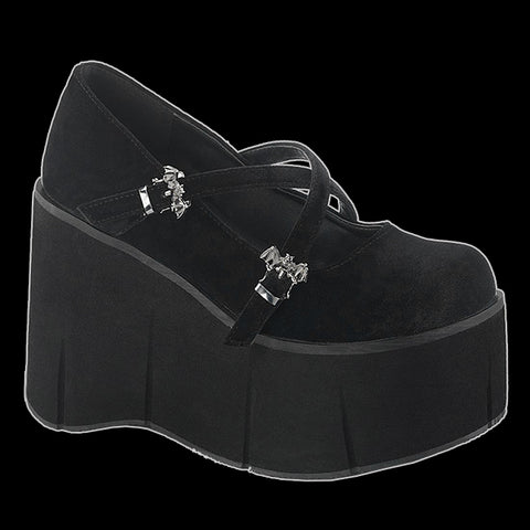 Demonia - Kera Black Velvet Bat Buckle Platform Wedge Shoe
