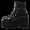 Demonia - Black 2 Buckle Kera Lace Up