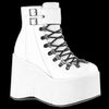 Demonia - White2 Buckle Kera Lace Up