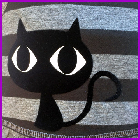 Babysitter's Nightmare - Black Cat Striped Dress