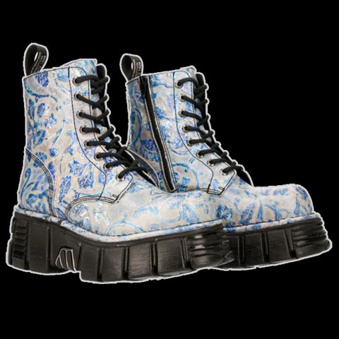 New Rock - Petals Blue Lace Boot