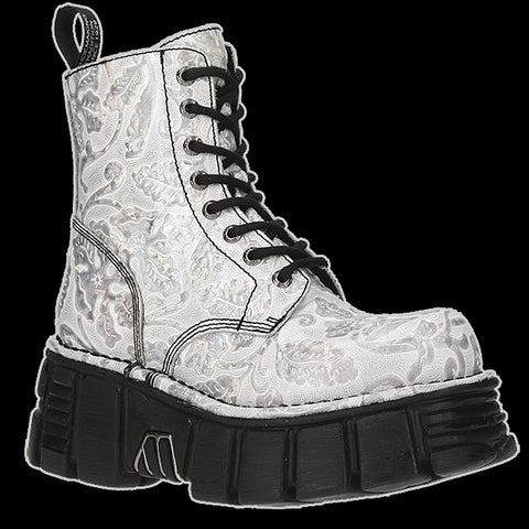 New Rock - Petals Silver Lace Boot