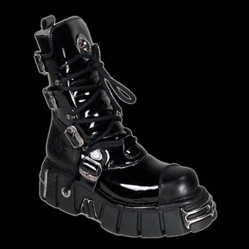 New Rock - Invader Black Patent 4 Buckle Boot