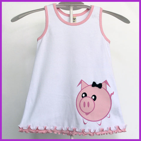 Babysitter's Nightmare - White Piggy Dress with Pink Ruffles