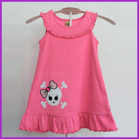 Babysitter's Nightmare - Pink Bow Skull Ruffle Top Dress