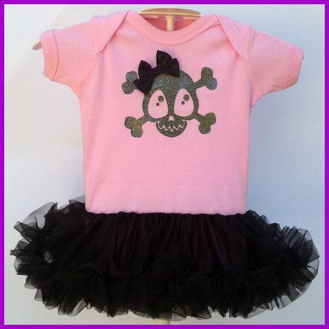 Babysitter's Nightmare - Pink Skully & Bow Tutu Dress