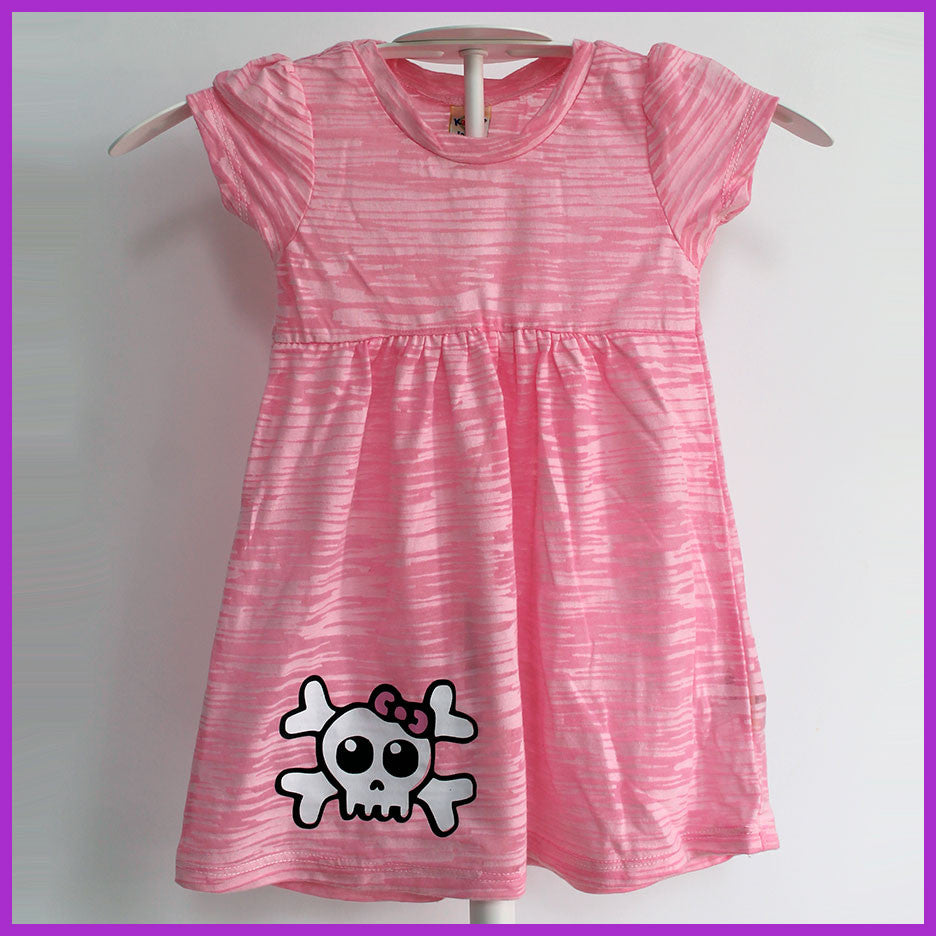 Babysitter's Nightmare - Pink Burnout Skull and Crossbones Dress