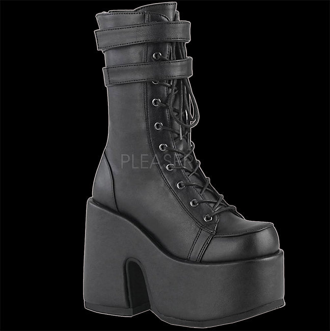 Demonia - CAMEL-250 Black Faux Leather 2 Strap Boot