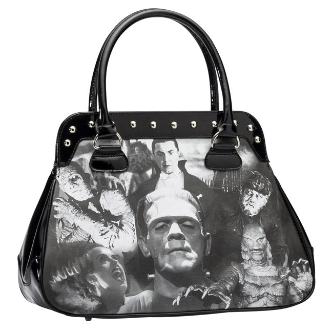 Rock Rebel - Universal Monsters Collage Handbag (Black)