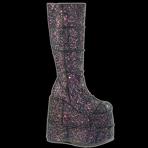 Demonia - STACK-301G  Black Multi Glitter Boot