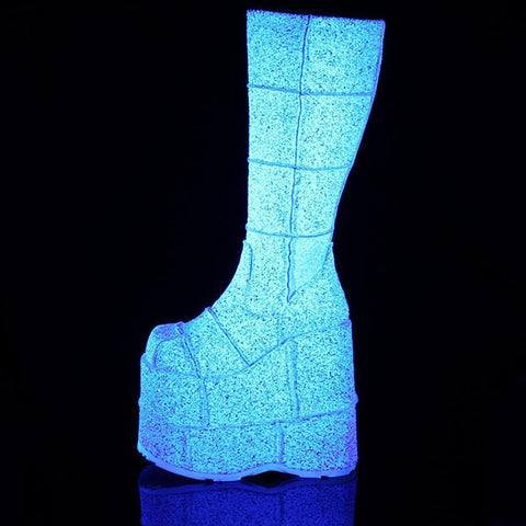 Demonia - STACK-301G White Multi Glitter Boot