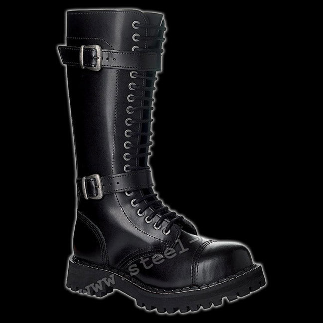 STEEL - 20 Eyelet Black 2 Buckle Steel-Toe Boot