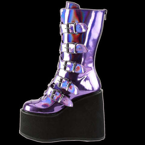Demonia - SWING-230 Purple Hologram Vegan Leather