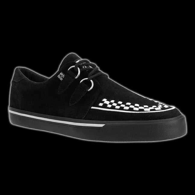 TUK - Black + White Suede D-Ring VLK Creeper Sneaker Shoe