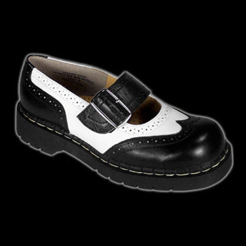 TUK - Black & White Wingtip Mary Jane Shoe