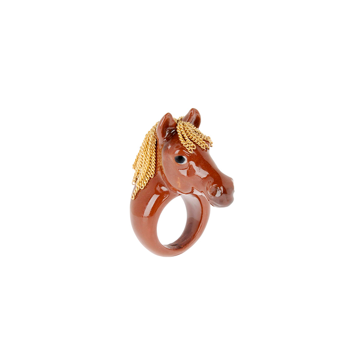 NACH BROWN HORSE WITH HAIRS RING