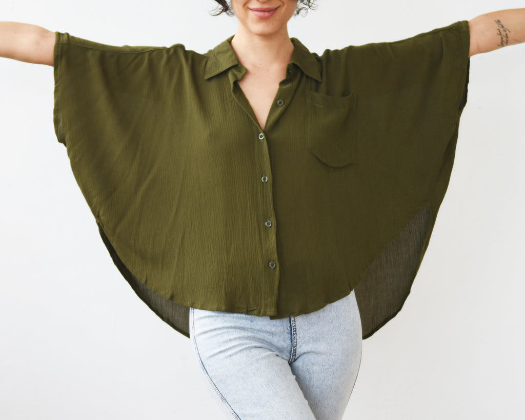 BIURIFUL COLORS PONCHO REDONDO CREPON OLIVO