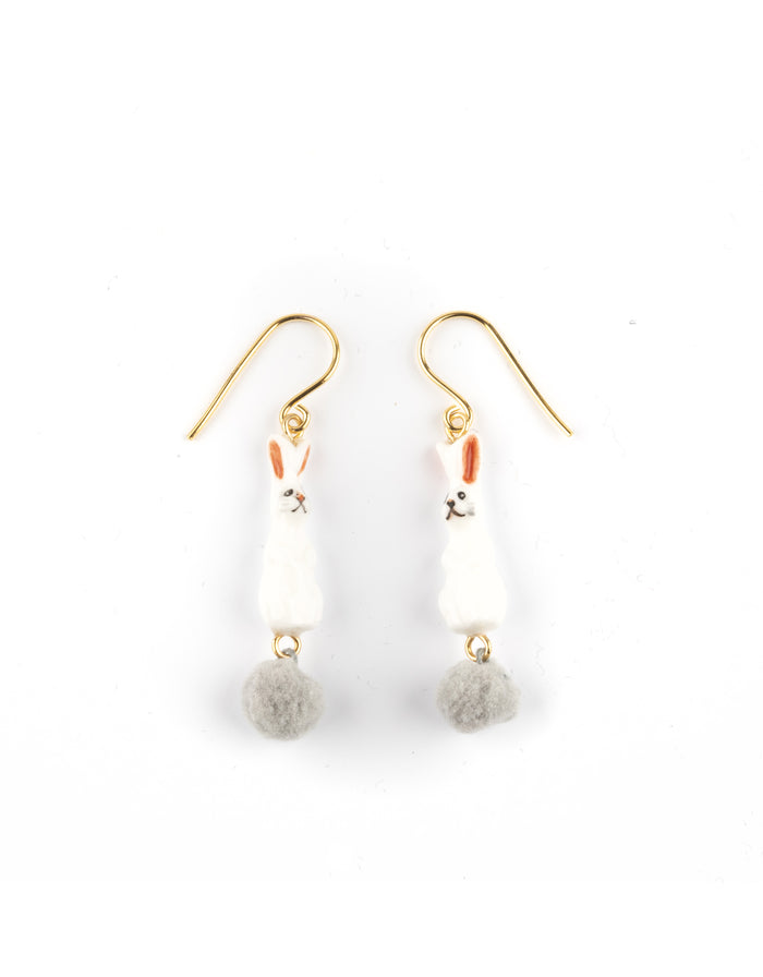 NACH RABBIT WITH TAIL POMPON EARRINGS
