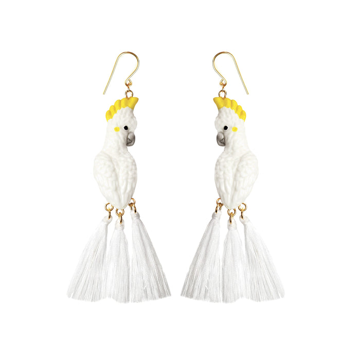 NACH WHITE COCKATOO WITH 3 POMPONS EARRINGS