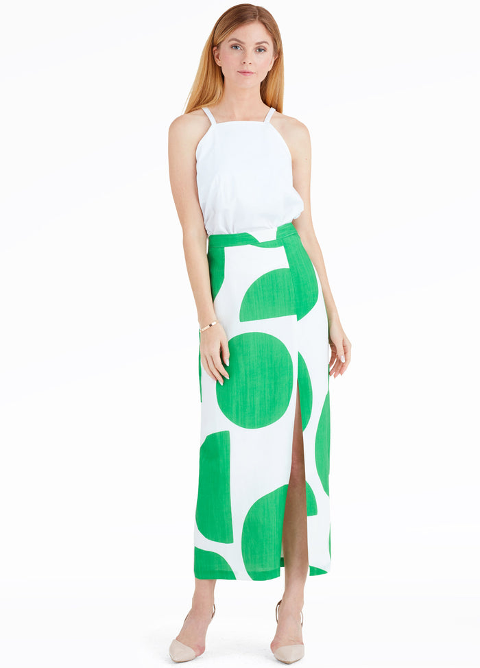 MARA HOFFMAN POLLY TONDO SKIRT WHT/GREEN