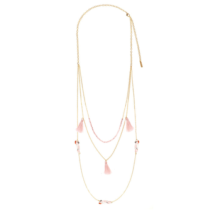 NACH PINK COCKATOOS MULTI CHAIN NECKLACE